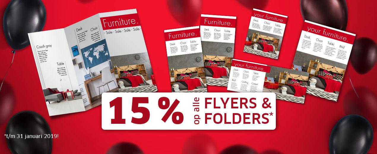 Bespaar een ongeëvenaarde 15% op flyers en folders